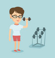 young caucasian woman lifting dumbbell vector image vector image