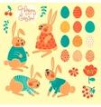 Set of elements for design Happy Easter vector image