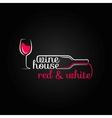 wine glass bottle house design background vector image