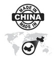 made in china stamp world map with zoom on vector image