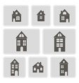 monochrome icons with houses vector image