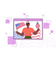 african american man holding usa flags celebrating vector image vector image