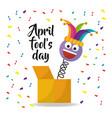 april fools day card with emoji smile hat confetti vector image vector image