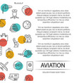 aviation poster concept with outline icons vector image vector image
