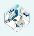 blue kitchen isometric home interior design vector image