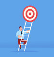 businessman stepping up to target on top of stairs vector image vector image