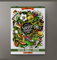 cartoon hand drawn doodles soccer poster vector image