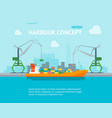 cartoon harbour of port town concept banner card vector image vector image
