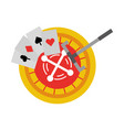 casino roulette with poker cards vector image vector image
