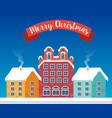 christmas city flat background vector image vector image