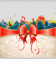 christmas frame with bow vector image vector image