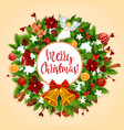 christmas wreath with xmas bell bow greeting card vector image vector image