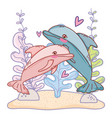 dolphin couple animal with seaweed plants vector image vector image