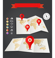 Earth maps set with weather icons and red pins vector image vector image