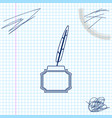 feather and inkwell line sketch icon isolated on vector image