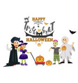 happy halloween dad with kids at horror party vector image vector image