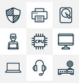 hardware icons line style set with man with laptop vector image vector image