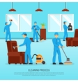 Industrial Cleaning Team Work Flat Poster vector image vector image