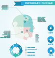 Infographics of head the head is divided into four vector image