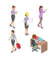 Isometric set of businesswoman vector image vector image