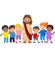 kids with jesus christ vector image