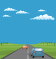 landscape background road with cars in green vector image