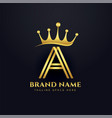 letter a crown golden logo concept design vector image