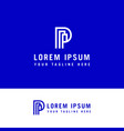letter p line building logo with minimalist style