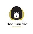 minimalistic beauty studio logo in black vector image vector image