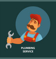 plumbing service promotional poster with plumber vector image