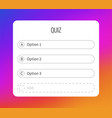 question sticker for typing answers quiz option vector image