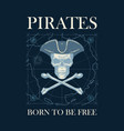 retro banner with pirate skull hat and bones vector image