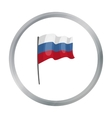 Russian flag icon in cartoon style isolated on