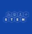 science and math - stem concept hexagon vector image vector image