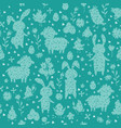 seamless pattern with chickens and eggs silhouette vector image vector image