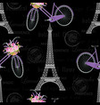 seamless pattern with eiffel tower bicycle vector image vector image