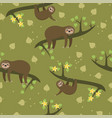 seamless pattern with sloths for fabric or vector image vector image