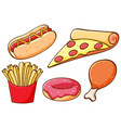 set food on white background vector image vector image