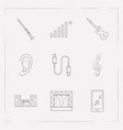 set of audio icons line style symbols with sound vector image vector image