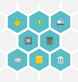 set of finance icons flat style symbols with safe vector image vector image