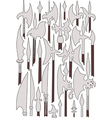 Set of medieval weaponry Spears halberds and peak vector image vector image