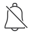 silent bell line icon web and mobile alarm off vector image