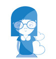 silhouette pretty girl with hearts and glasses vector image vector image