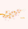 single branch with tender flowers vector image vector image