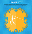 Summer sports Javelin throw icon Floral flat vector image