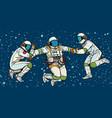 three astronauts in space in zero gravity vector image vector image