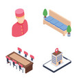 travel and hotel staff isometric icons pack vector image