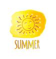 watercolor sun summer watercolor yellow blot vector image