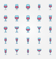 wine glass colorful icons vector image vector image