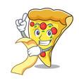 with menu pizza slice mascot cartoon vector image vector image